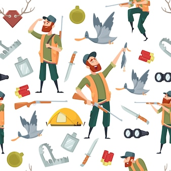 Duck hunters pattern. seamless background with cartoon pictures and symbols of hunting.