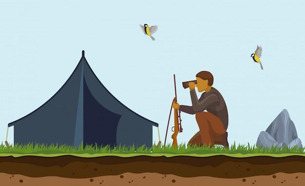 アヒル狩り。銃、双眼鏡、狩りのテントでハンターの漫画イラスト。野鳥を撮影し、屋外をターゲットにします。