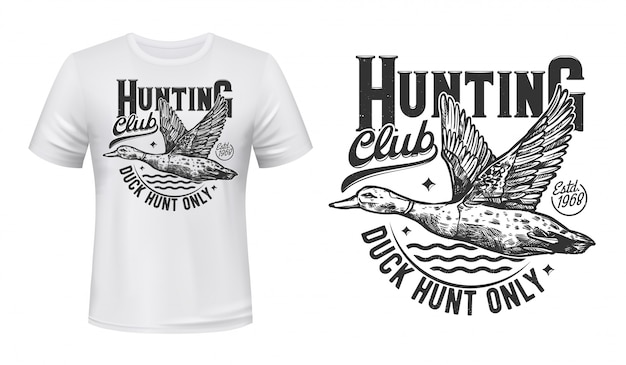 Duck hunting t-shirt print. hunters club symbol