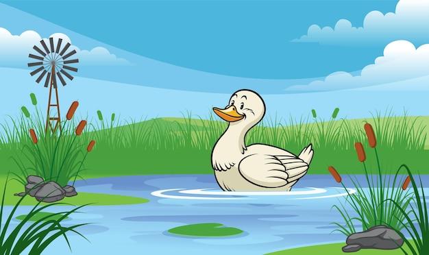 漫画風の池のアヒル