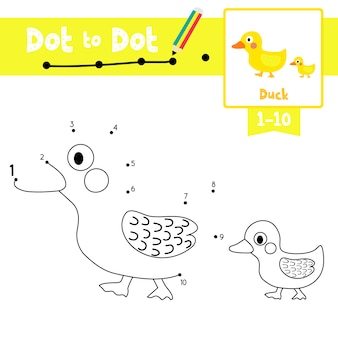 Duck and little duck dot to dot game and coloring book