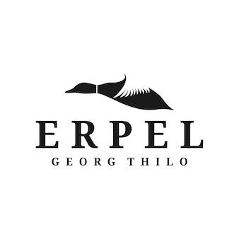 Утка логотип вдохновение силуэт летающих гусей вектор