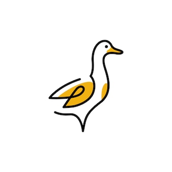 Duck logo vector icon line outline monoline illustration