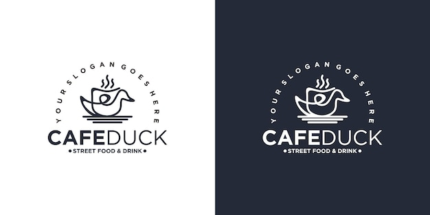 コーヒーカップの組み合わせ、ビジネス、カフェ、レストラン、屋台の食べ物などの参照とアヒルのロゴ