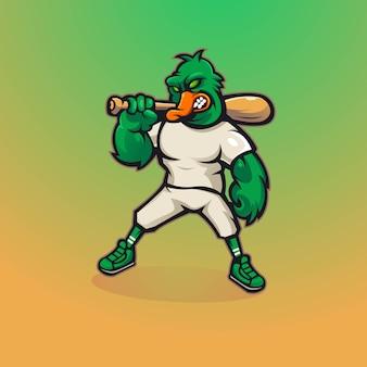 モダンなイラストのコンセプトスタイルを持つアヒルマスコットロゴデザイン。アヒルは野球の棒を運ぶ
