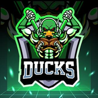 Duck robot mascot esport logo design