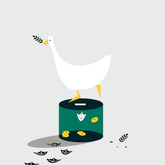 Duck standing on the donation box