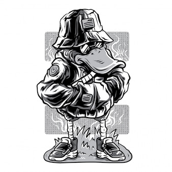 Duck in style black and white illustration