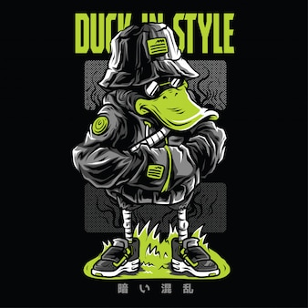 Duck in style neon  illustration