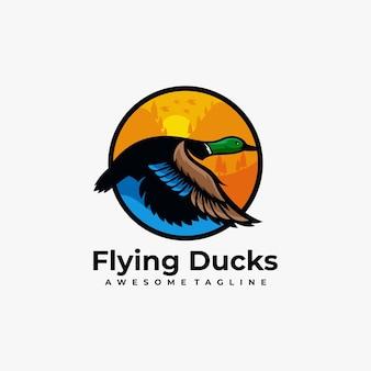 Duck sunset illustration logo design template Premium Vector
