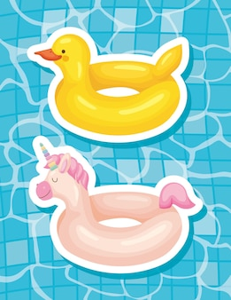 Duck and unicorn floats