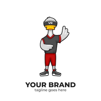 Duck wear virtual reality device mascot character logo