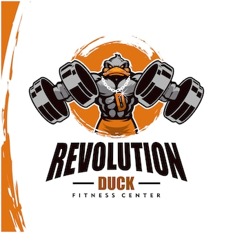 Duck with strong body, fitness club or gym logo.