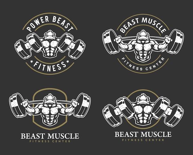 강한 몸, 피트니스 클럽 또는 체육관 로고 세트가있는 오리.