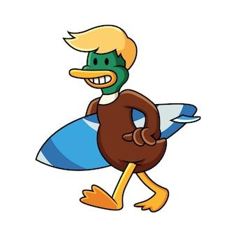 Duck with surf board cartoon illustration