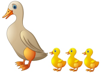 Ducklings bring their cute children. Illustration vector
