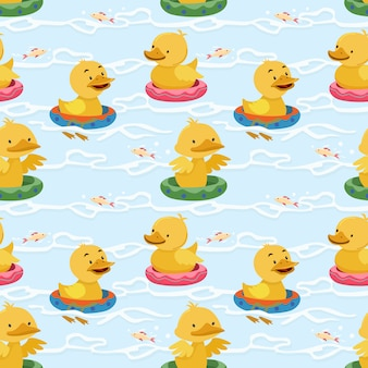 Ducklings in rubber rings seamless pattern.