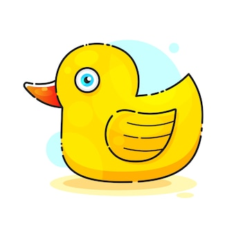 Ducky bath toy flat vector color icon for apps