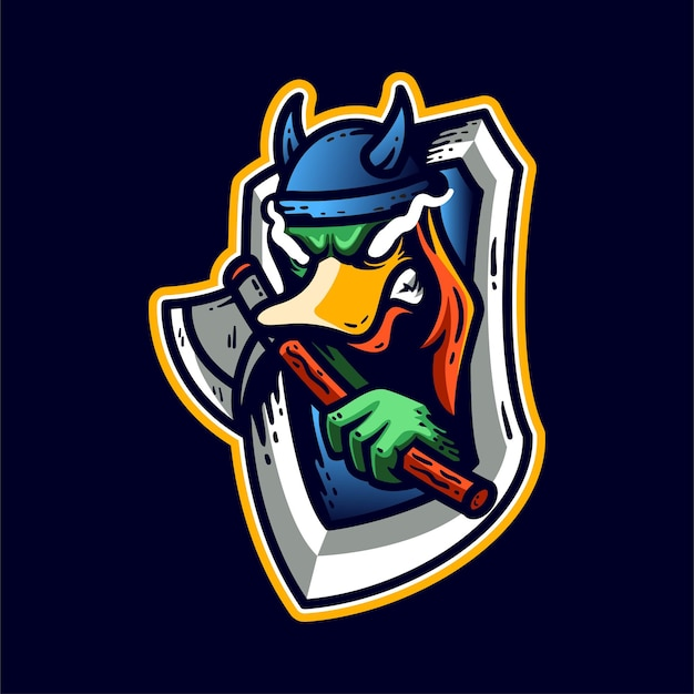 Ducky with axe mascots character logo