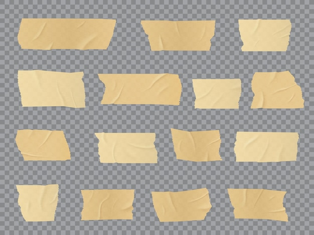 Duct tape pieces, adhesive wrinkled stripes, glued sticky scotch tape for fix, repair or packaging purposes. realistic 3d beige insulating plaster or paper patches, isolated bandage objects set
