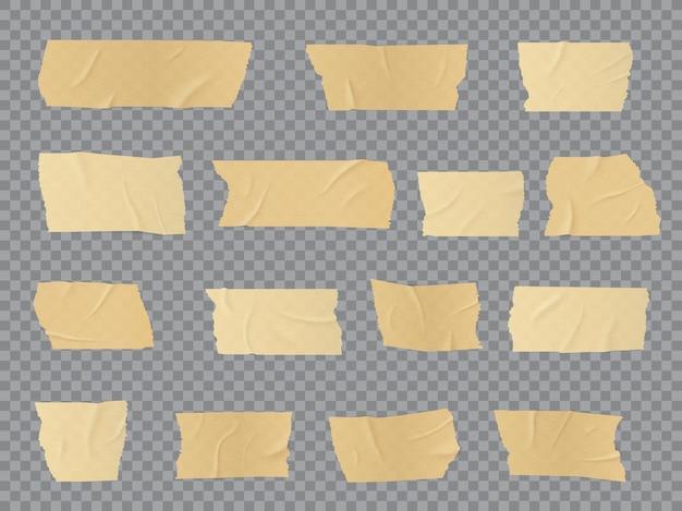 덕트 테이프 조각, 접착 성 주름진 줄무늬, 고정, 수리 또는 포장 목적으로 접착 된 접착 스카치 테이프. 현실적인 3d 베이지 절연 석고 또는 종이 패치, 고립 된 붕대 개체 세트