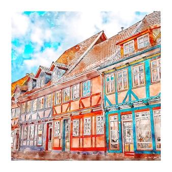 Duderstadt 독일 수채화 스케치 손으로 그린 그림