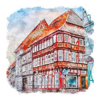 뒤더슈타트 독일 수채화 스케치 손으로 그린 그림