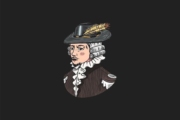 깃털 모자와 공작 또는 골동품 빅토리아 남자.