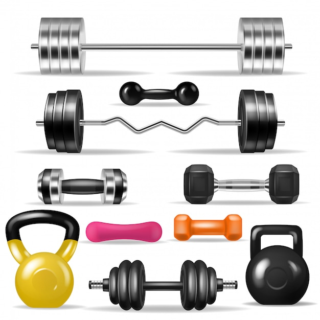 Dumbbell fitness gym weight equipment dumb-bells kettlebell illustration bodybuilding set of heavy barbell sport workout isolated on white background