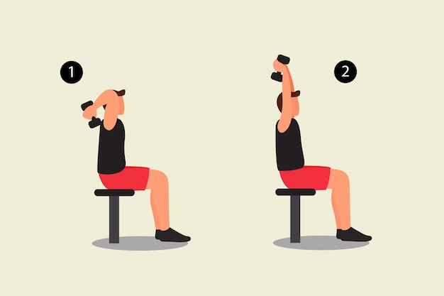 Dumbbell overhead press top body workout vector illustration sitting on bench