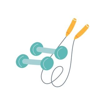 Гантели и скакалки на белом фоне, фитнес, спорт. векторная иллюстрация в плоском стиле