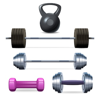 Dumbbells barbells and weight fitness