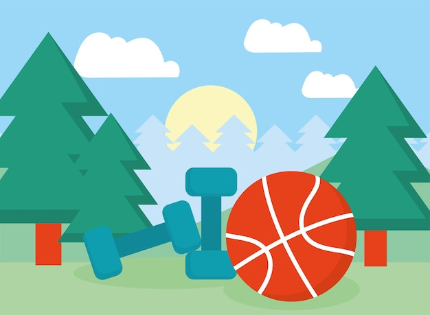 Dumbbells and basketball