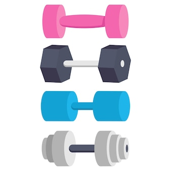 Dumbbells for exercise  cartoon set isolated on a white background.