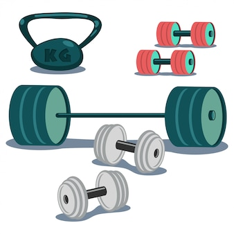 Dumbbells, weight and barbell set.