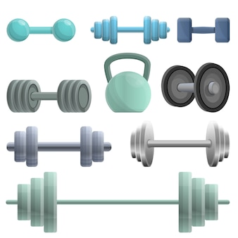 Dumbell icons set, cartoon style