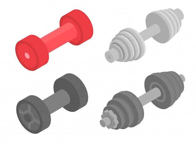 Dumbell icons set. isometric set of dumbell vector icons for web design isolated on white background