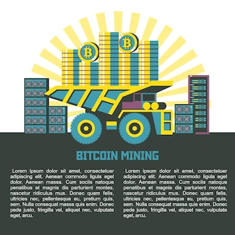The dump truck carries the bitcoins to the background servers. vector illustration with place for text.