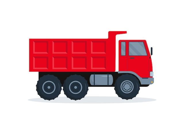 白い背景の上のダンプトラックのイラスト。建設用の大きな重い車のダンプカー。