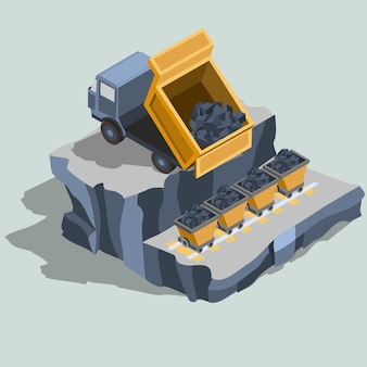 Dump truck ships coal into coal carts isometric vector