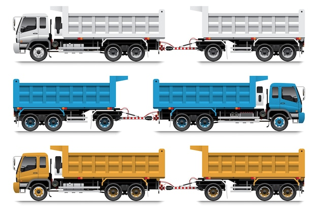 Dump truck trailer, 22 wheel, supply delivery truck for mine plant or construction site.