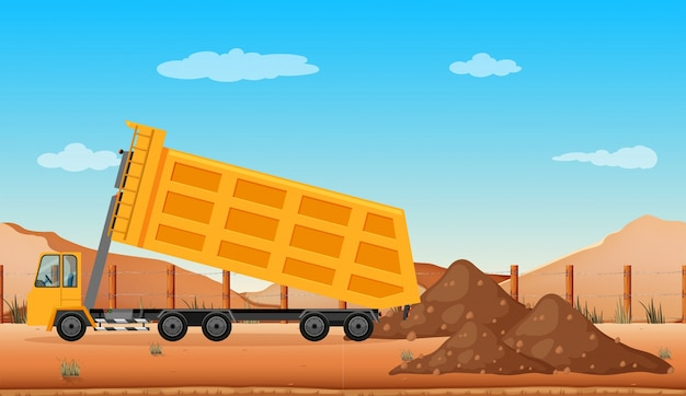 Dumping truck at the construction site