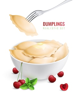 Dumplings ravioli manti colored realistic composition vareniki with cherry filling in a plate  illustration
