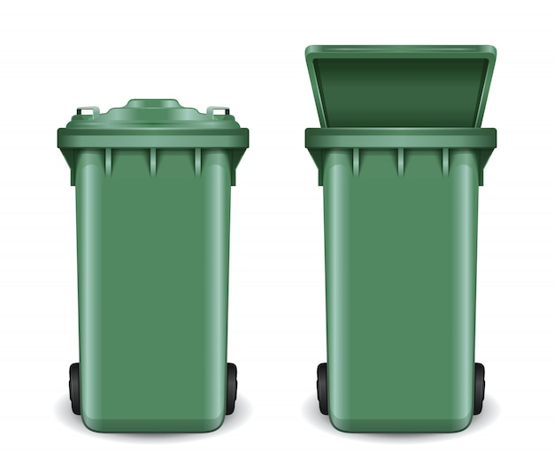 Dumpster in open and closed condition. trash can on wheels. green recycling bin bucket for trash.  isolated on white