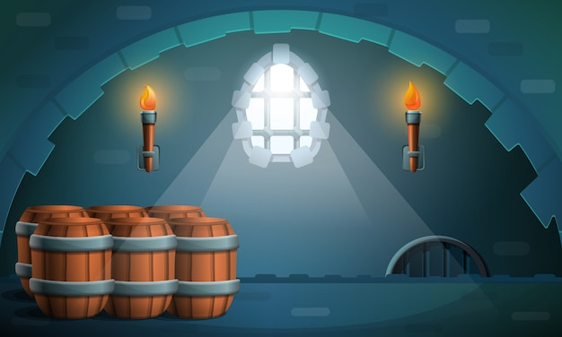 Dungeon castle with barrels and torches, illustration