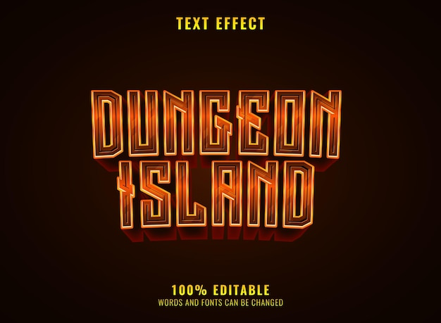 Dungeon island fantasy medieval rpg game logo text effect