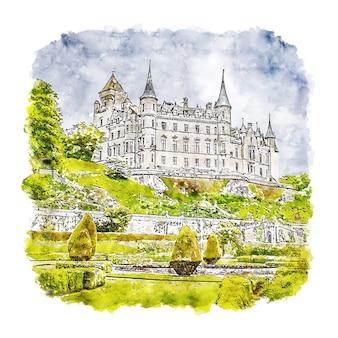 Замок данробин лондон акварельный эскиз рисованной иллюстрации