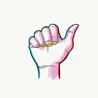 듀오 톤 손 번호 하나, 엄지 손가락