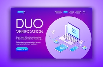 Duo verification illustration of computer and smartphone with dual authentication