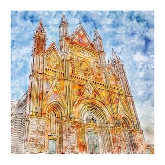 두오모 디 오르비에토 이탈리아 수채화 스케치 손으로 그린 그림